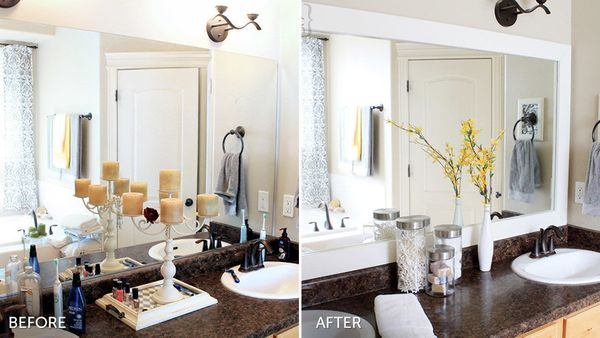 "Give your unframed mirror an easy facelift. Instead of buying a pricey new one, Alicia, the blogger behind <a href=""http://ww"