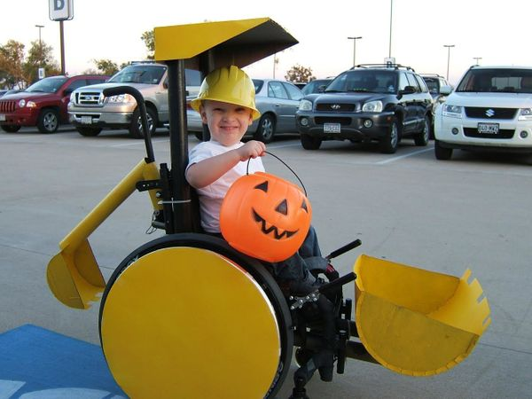 ​A 3-year-old Caleb as a backhoe for Halloween 2008.