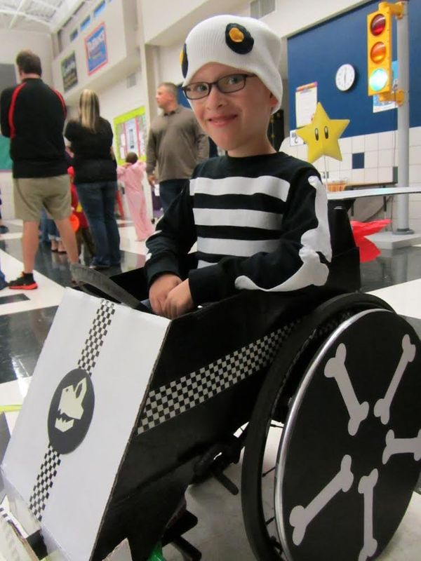 A 7-year-old Caleb dressed as Dry Bones in his Mario Kart for Halloween 2012.