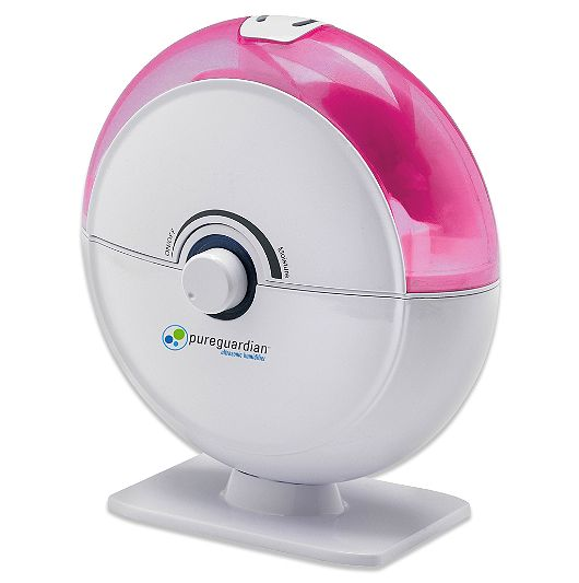 The <strong>PureGuardian 14-Hour Ultrasonic Humidifier</strong> comes with a nightlight and in a range of fun colors for kids