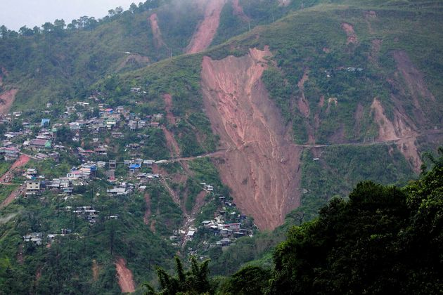 A view of landslide caused at the height of Typhoon Mangkhut that buried people at a mining camp in Itogon,...