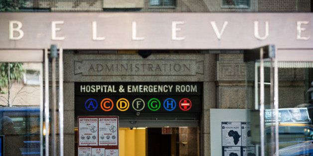 NEW YORK, NY - OCTOBER 27:  Signs regarding the ebola outbreak and treatment are posted at the entrance to Bellvue Hospital, where a 5-year-old was brought early this morning after showing ebola-like symptoms after recently returning from West Africa, on October 27, 2014 in New York City. Bellvue Hospital is also treating Dr. Craig Spencer, a doctor who has the ebola virus after working in West Africa. Spencer is being held in an isolation ward, it is unclear if the 5-year-old has ebola at this time.  (Photo by Andrew Burton/Getty Images)
