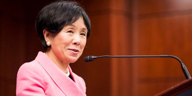 UNITED STATES - SEPTEMBER 13: Rep. Doris Matsui, D-Calif., speaks during announcement of the National Tour of the Congressional Gold Medal Awarded to Japanese American World War II Veterans in the Capitol Visitor Center on Thursday, Sept. 13, 2012. The medal was awarded in October 2010 to the 442nd Regimental Combat Team and the 100th Infantry Battalion, as well as the 6,000 Japanese Americans who served in the Military Intelligence Service during the war. (Photo By Bill Clark/CQ Roll Call)