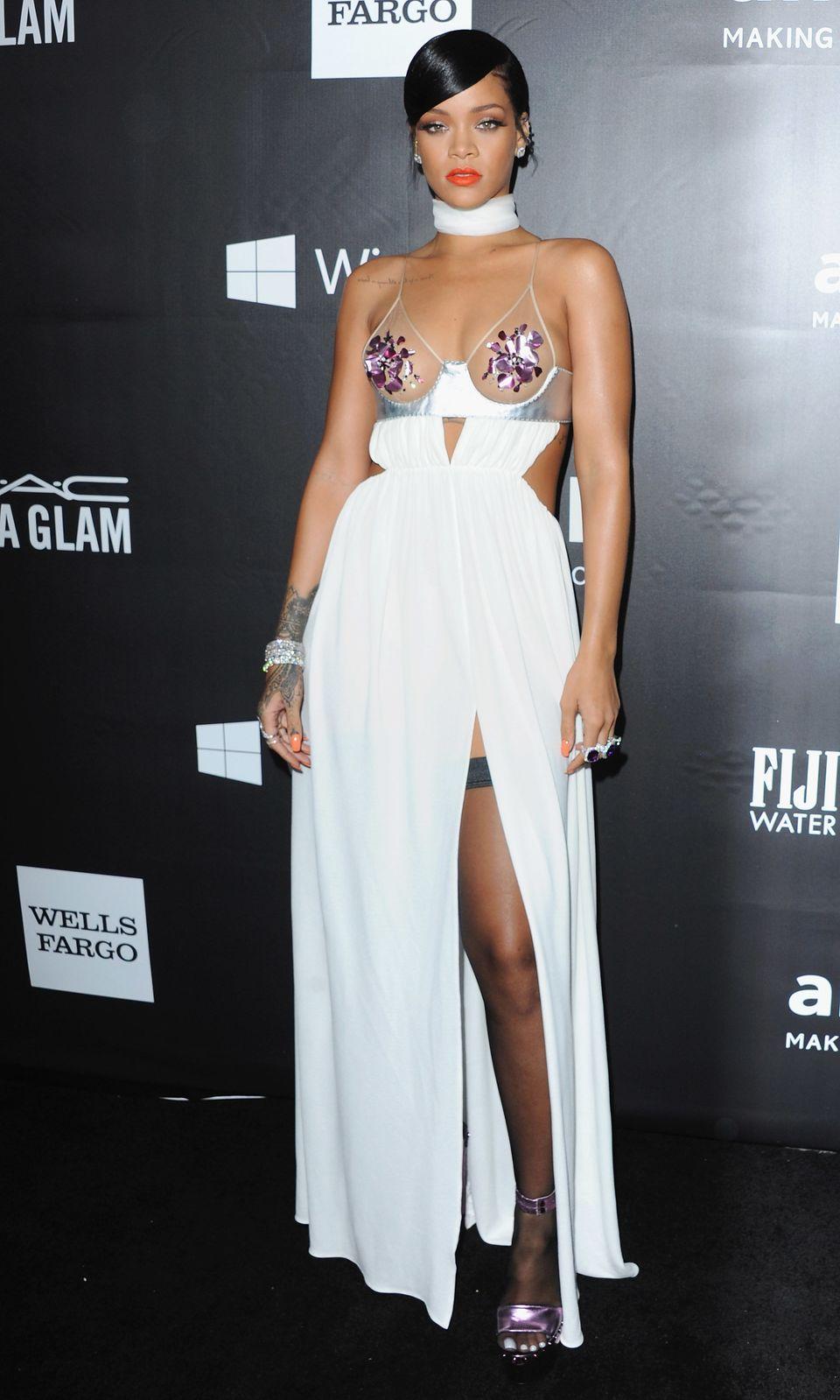 HOLLYWOOD, CA - OCTOBER 29:  Singer Rihanna arrives at the 2014 amfAR LA Inspiration Gala at Milk Studios on October 29, 2014