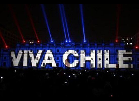 A light show is presented before the La Moneda presidential palace during celebrations in Santiago on September 16, 2010, two