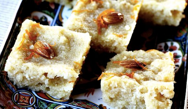 """<strong>Get the <a href=""""http://food52.com/recipes/15819-basbousa-semolina-cake-soaked-in-a-lemon-rosewater-syrup"""" target=""""_b"""