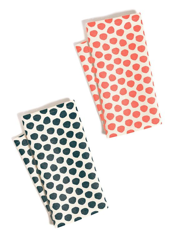 "Polka Dots tea towel set in Navy & Coral, $24, <a href=""http://www.artsymodern.com/products/polka-dots-tea-towel-set-coral-na"