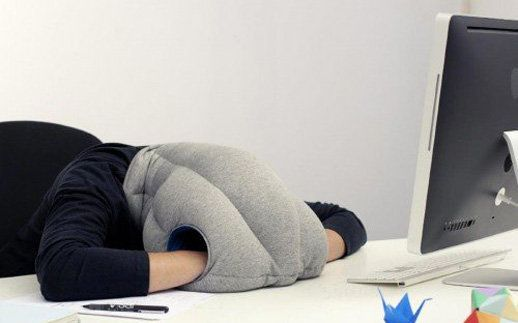 """Wear the <a href=""""http://www.ostrichpillow.com/"""" target=""""_blank"""">Ostrich Pillow</a> -- made with flexible fabric and stuffed"""