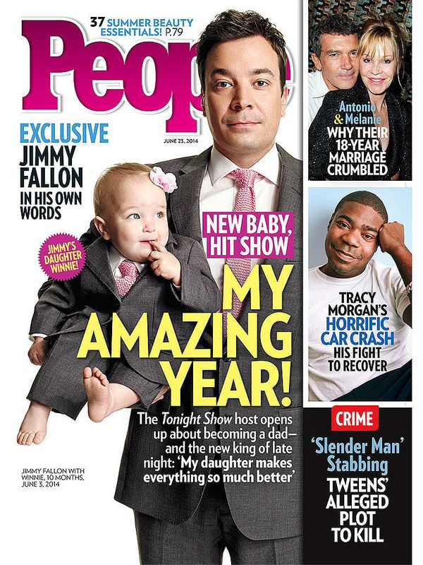 "In June, Jimmy Fallon and his then-10-month-old daughter Winnie wore matching suits for <a href=""https://www.huffpost.com/ent"