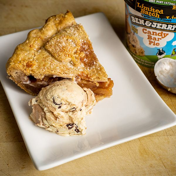 Candy Bar Pie Ice Cream is peanut butter ice cream with fudge fakes, chocolate nougat and sweet and salty pretzel swirls. The