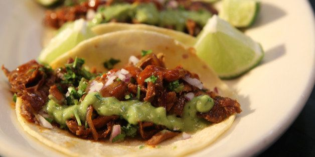 BROOKLINE, MA - FEBRUARY 7: Tacos al pastor at Anna's Taqueria. (Photo by Joanne Rathe/The Boston Globe via Getty Images)