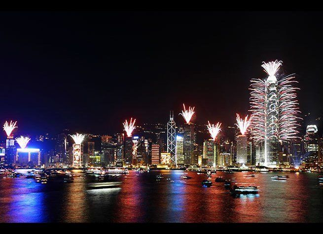 <em>Photo Credit: leungchopan / Shutterstock</em>  One of the world's most dramatic skylines lights up every year with a di