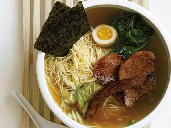 "<strong>Get the <a href=""http://www.huffingtonpost.com/2011/10/27/shoyu-ramen_n_1058680.html"">Shoyu Ramen</a> recipe by Food&"