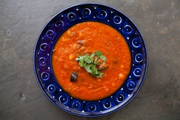 """<strong>Get the <a href=""""http://www.simplyrecipes.com/recipes/roasted_eggplant_and_tomato_soup/"""">Roasted Eggplant & Tomato So"""