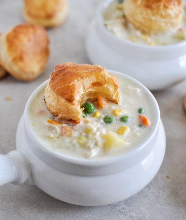 """<strong>Get the <a href=""""http://www.howsweeteats.com/2012/12/chicken-pot-pie-soup/"""" target=""""_blank"""">Chicken Pot Pie Soup reci"""