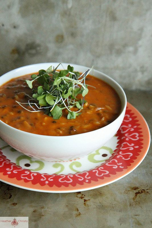 """<strong>Get the <a href=""""http://www.heatherchristo.com/cooks/2013/01/01/spicy-tomato-lentil-soup/"""">Spicy Tomato Lentil Soup</"""