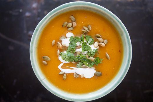 """<strong>Get the <a href=""""http://www.simplyrecipes.com/recipes/chipotle_pumpkin_soup/"""">Chipotle Pumpkin Soup</a> recipe from S"""