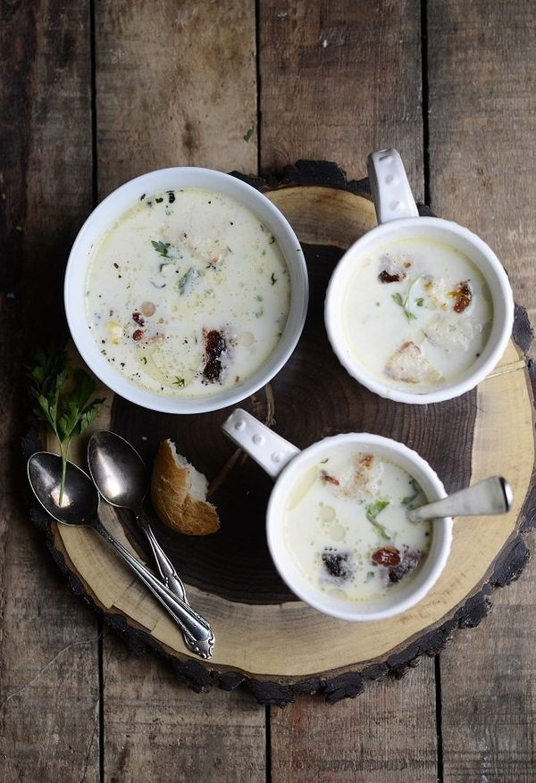"""<strong>Get the <a href=""""http://www.versesfrommykitchen.com/2012/11/parsley-root-chestnut-soup-with-bacon-relish-and-crisp-cr"""