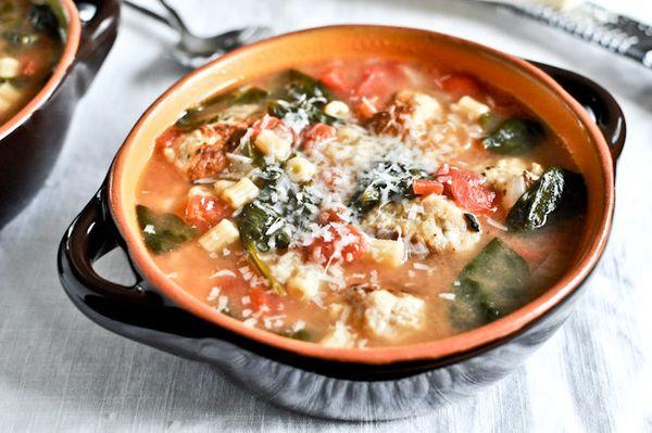 "<strong>Get the <a href=""http://www.howsweeteats.com/2012/02/mini-chicken-meatball-soup/"" target=""_blank"">Mini Chicken Meatba"