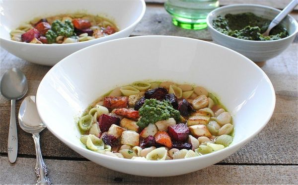 """<strong>Get the <a href=""""http://bevcooks.com/2012/10/roasted-vegetable-and-pesto-minestrone/"""" target=""""_blank"""">Roasted Vegetab"""
