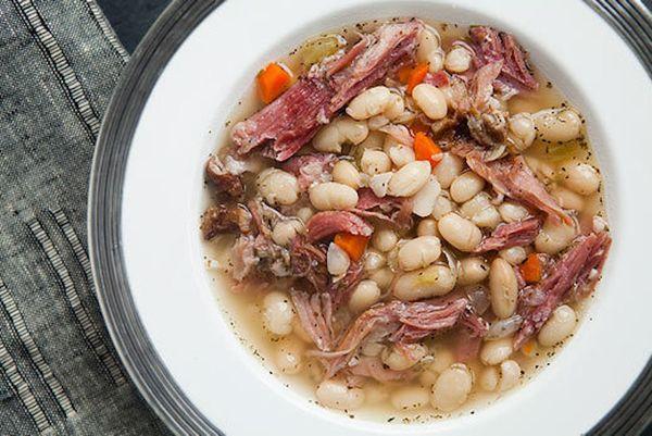 "<strong>Get the <a href=""http://www.simplyrecipes.com/recipes/white_bean_and_ham_soup/"">White Bean and Ham Soup</a> recipe fr"