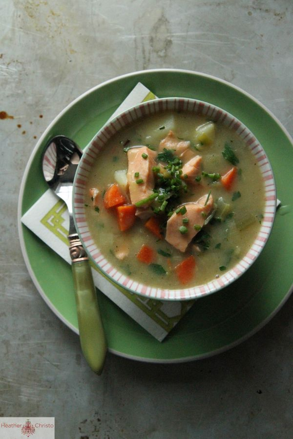 """<strong>Get the <a href=""""http://www.heatherchristo.com/cooks/2013/02/15/salmon-chowder/"""">Salmon Chowder</a> recipe from Heath"""