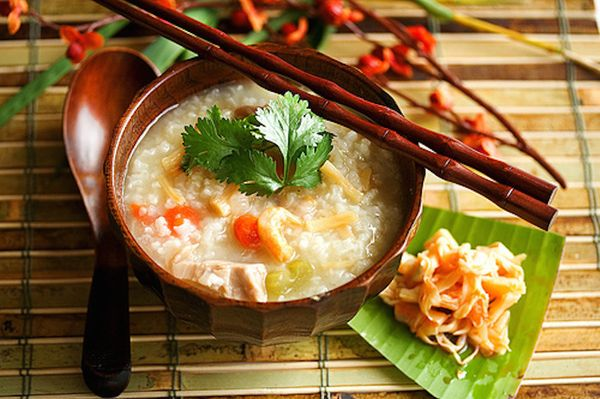 """<strong>Get the <a href=""""http://steamykitchen.com/211-turkey-congee-rice-porridge.html"""">Chinese Congee</a> recipe from Steamy"""