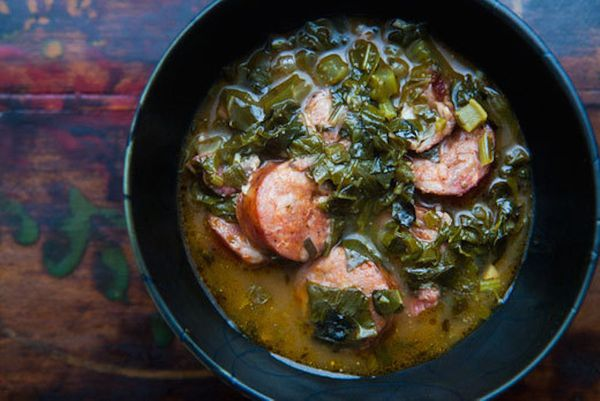 """<strong>Get the <a href=""""http://www.simplyrecipes.com/recipes/green_gumbo/"""">Green Gumbo recipe from Simply Recipes</a></stron"""