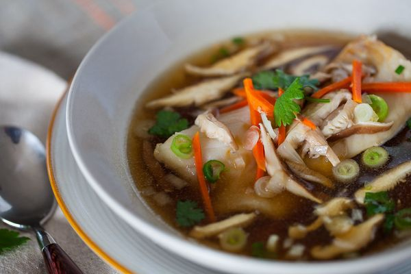 """<strong>Get the <a href=""""http://www.steamykitchen.com/24195-cod-in-garlic-ginger-broth-recipe-video.html"""" target=""""_blank"""">Cod"""