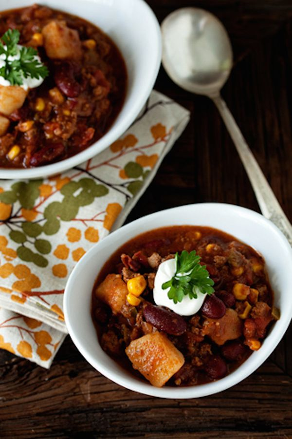 """<strong>Get the <a href=""""http://www.mybakingaddiction.com/hearty-chili/"""">Hearty Chili</a> recipe from My Baking Addiction</st"""
