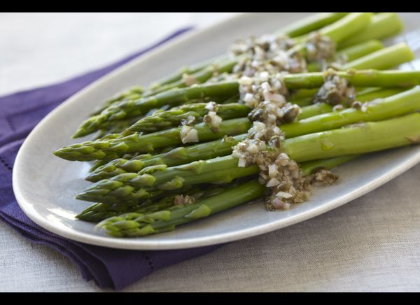 Be sure to cook the asparagus until just tender, with still a little crunch left in them. The shallot caper vinaigrette -- wh