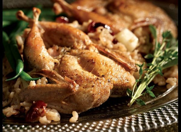 To get a nice crispy skin, this recipe suggests searing the quail in a skillet before finishing it off in the oven. It is bak
