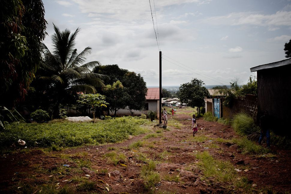 """""""People living in Coyah or at the KM 36 military base (shown above), who are infected with Ebola have to be treated at the Eb"""