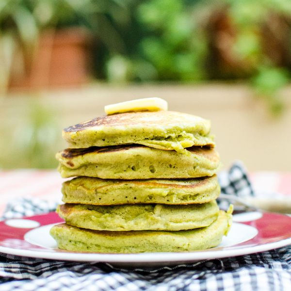 "<strong>Get the <a href=""http://www.dianeabroad.com/2012/12/matcha-pancakes/"" target=""_blank"">Matcha Pancakes recipe</a> by D"