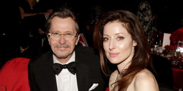 PALM SPRINGS, CA - JANUARY 04:  Actor Gary Oldman (L) and Alexandra Edenborough attend the 25th annual Palm Springs International Film Festival awards gala at Palm Springs Convention Center on January 4, 2014 in Palm Springs, California.  (Photo by Jeff Vespa/Getty Images for PSIFF)