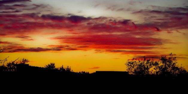 """I have a thing for silhouetted sunsets. I stand at the window and wait and shoot and watch the colors emerge and change and fade away, minute by minute. There's always a narrow range of images in which color intensity peaks and from that group I select my """"keepers""""."""