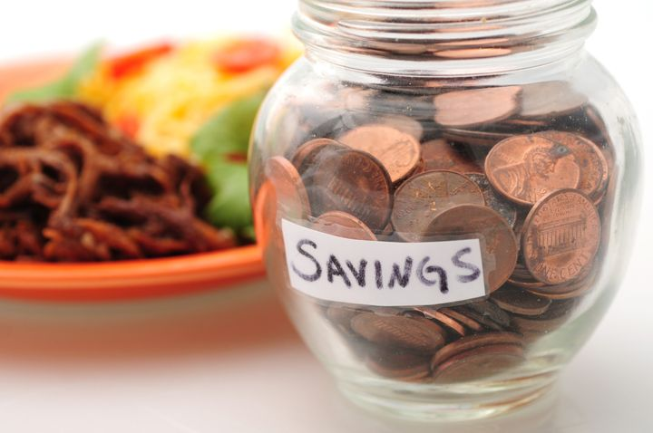 saving money with a jar of...