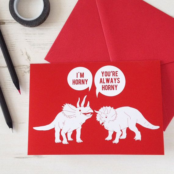 "Buy it <a href=""https://www.etsy.com/listing/176711235/valentines-card-funny-horny-dinosaurs?ref=br_feed_40&br_feed_tlp=valen"