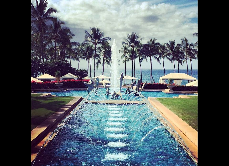 From the main building, walking towards the pools, the epic fountains and pool provide a great shot, but having the ocean in