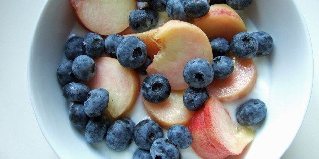 blueberries, doughnut peach, yogurt