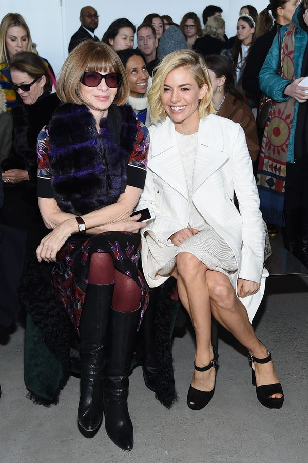 Anna Wintour and actress Sienna Miller attend the Calvin Klein Collection fashion show