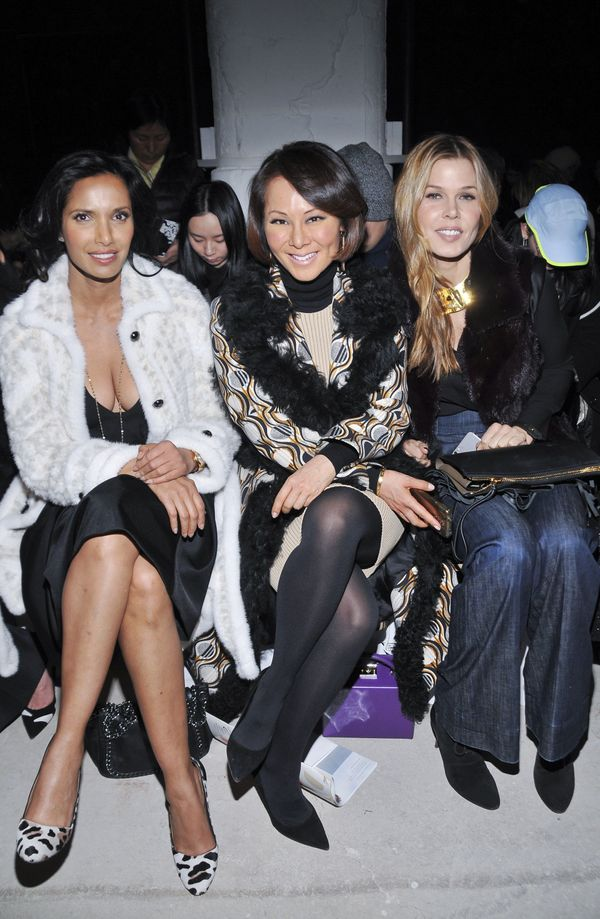 Padma Lakshmi, Alina Cho and Mary Alice Stephenson attend the J. Mendel fashion show