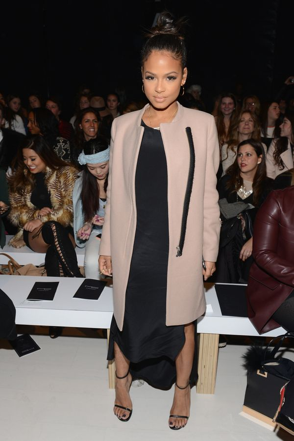 Christina Milian attends the Michael Costello fashion show