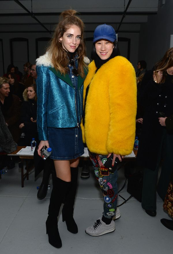 Chiara Ferragni and Eva Chen attends the Rodarte fashion show