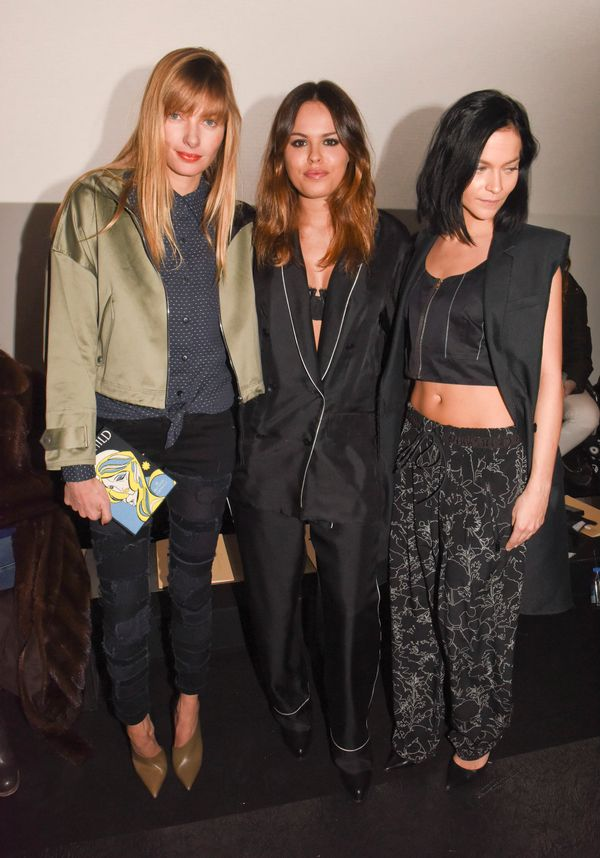 Jessica Hart, Atlanta de Cadenet and Leigh Lezark attend the Rag & Bone show