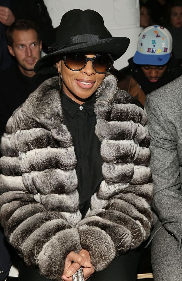 NEW YORK, NY - FEBRUARY 15:  Musician Mary J. Blige attends Public School runway show during MADE Fashion Week Fall 2015  at