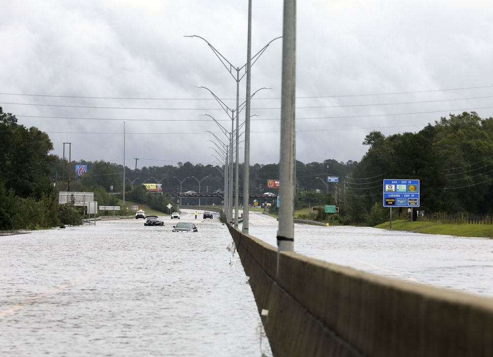 Flooding is seen near Interstate Highway 95 in Lumberton.