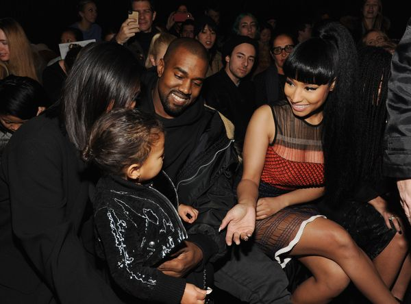 Kim Kardashian, North West, Kanye West and Nicki Minaj attend the Alexander Wang Fashion Show
