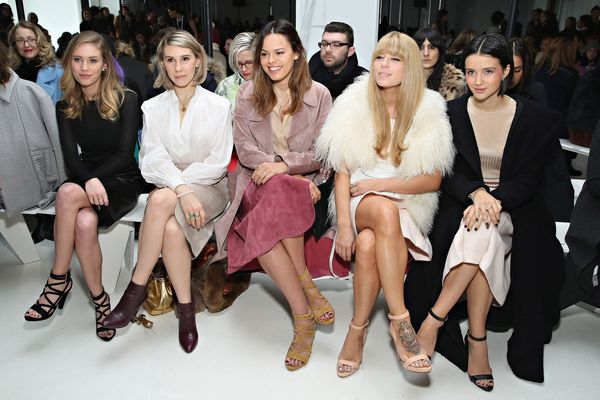 Dylan Penn, Zosia Mamet, Atlanta de Cadenet Taylor, Alix Brown and Julia Goldani Telles attend the Jill Stuart fashion show
