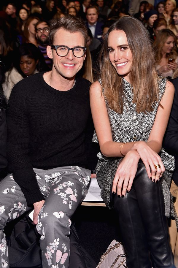 Brad Goreski and Louise Roe attend the Monique Lhuillier fashion show